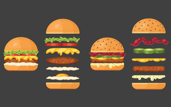 burgers layered with different ingredients