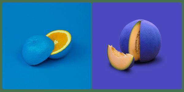 blue coloured orange and coloured melon