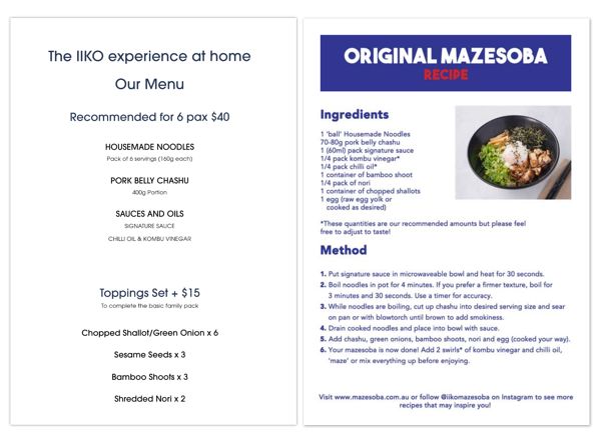 IIKO Mazesoba online order menu