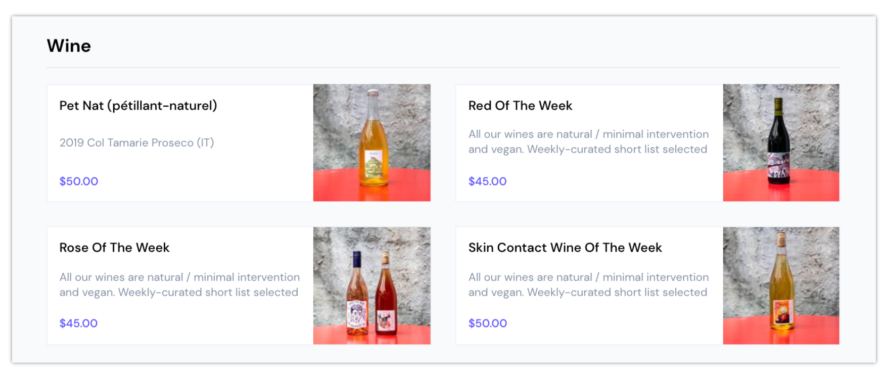 Bad Hombres online menu for wine of the week